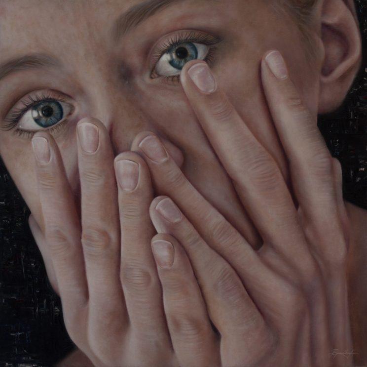 Portrait, Jana Geilhof, Ölgemälde, Breathing Silence, Hände, Malerei, Gemälde, Hands, Kunstwerk, Ölmalerei
