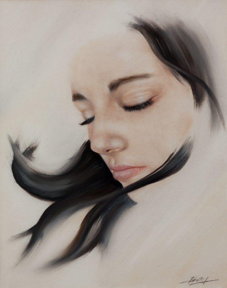 Portrait, Jana Geilhof, Ölgemälde, Blowing, Kunst, Malerei, Gemälde, Kunstwerk, Ölmalerei