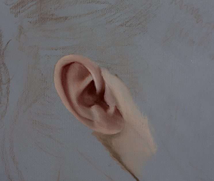 Körper, Jana Geilhof, Ölgemälde, Ohr, Detail, Figurative, Kunst, Malerei, Gemälde, Kunstwerk, Ölmalerei