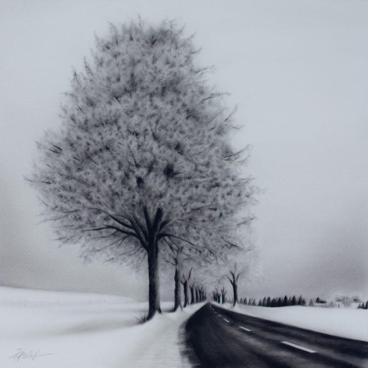 Winterlandschaft, Jana Geilhof, Ölgemälde, Malerei, Kunstwerk, Ölmalerei, Kunst, Straße
